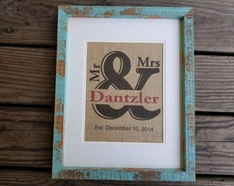Mr and Mrs, Burlap print, wedding gift, house warming, free shipping