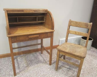 Child Rolltop Desk And Chairchilds Wood Vintage Small Nursery Decor