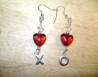Red Heart X's and O's Earrings