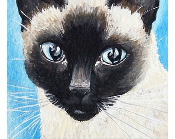 Siamese Cat Print, Siamese Cat Art, Cat Lover Gift, Cute Cat Art, Limited Edition Print, Siamese Cat Portrait, Siamese Cat Picture, Cute Cat