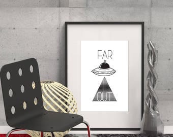 Far Out: Alien Art, UFO, Black and White Modern Print, Printable JPG, Poster, Instant Download