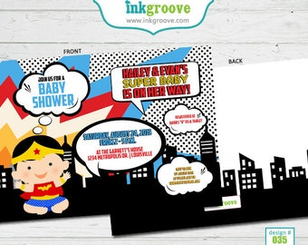 Super Hero Baby Shower Invitations - Baby Girl Shower Invitations -  Printed Invitations