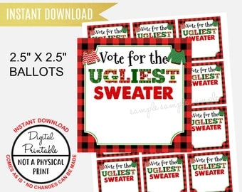 Ugly Sweater Christmas Party Ballot, Printable Digital Instant Download Vote for the Ugliest Sweater Ballot