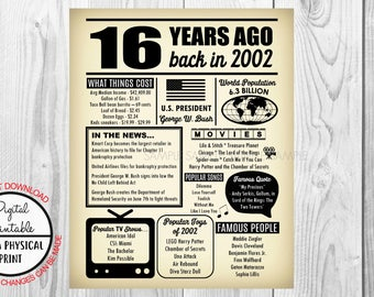 2002 The Year You Were Born, 16th Birthday Poster Sign, Back in 1968 Newspaper Style Poster, Printable, 2002 Facts, 16 years ago