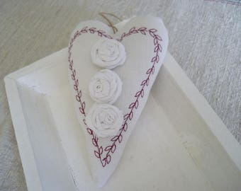 Heart door pillow - white fabric heart border red and pink shabby - decorative heart - white heart - heart - small fabric heart fabric