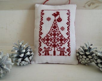 Christmas decoration - decorative pillow cross-stitched Christmas tree - christmas cushion - christmas tree - hanging cushion