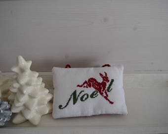 Christmas decoration - Door cushion cross-stitched - leaping deer - Christmas tree decoration - hanging pillow