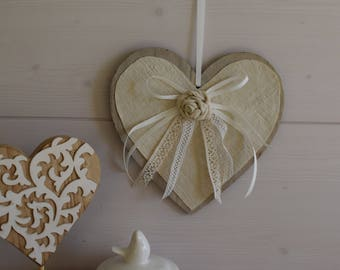 Heart decorative wood - heart - pink shabby - door panel heart hanging Wood - wood valentine heart - flat heart