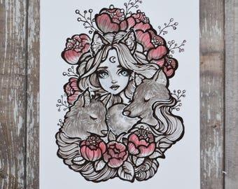 Werewolf - 5x7 Inch Halloween and Floral Nature Themed Art Print from Drawlloween / Inktober 2017