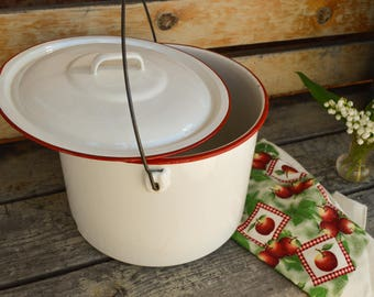 Vintage White Enamel Stock Pot, Enamelware, Retro Canning Kettle, Large Canning Pot, Mid Century, 1940s, Lobster Pot, Antique Birthday Gift