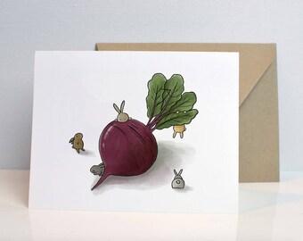 Bunnies & Beet Blank Card