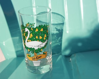 1970's Taylor Smith and T - 12 Days of Christmas Glass Tumbler - 7th Day - 7 Swans a Swimming - 5 1/2 inches PEPSI - Excellent Condition
