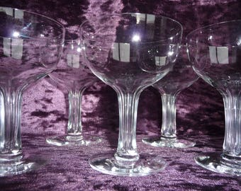 """Set of 5 Faceted Hollow Stem Fostoria Crystal Champagne Coupe Glasses Saucers """" Repeal """" Design"""
