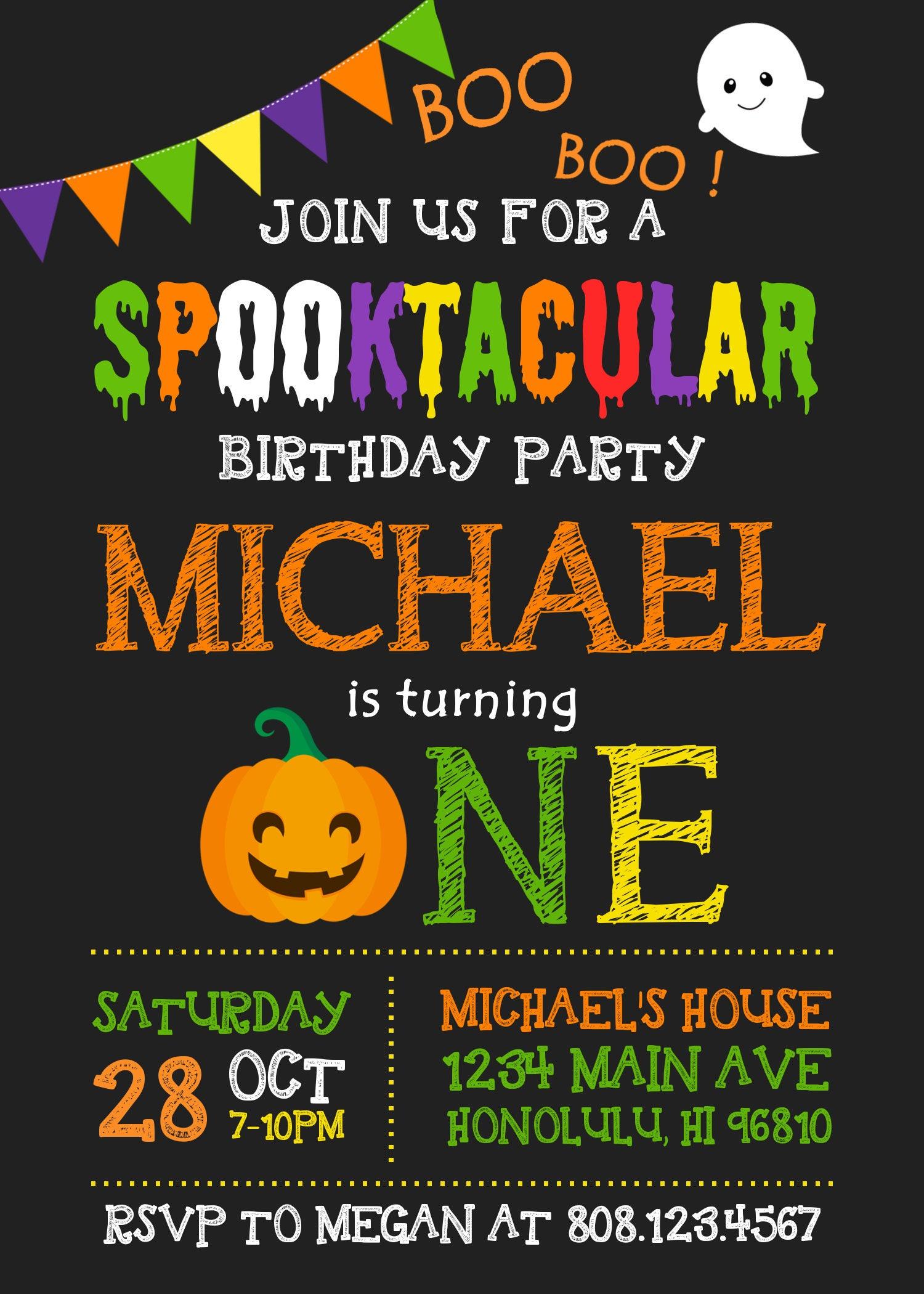 halloween birthday invitation pumpkin first birthday invitation boy halloween party invitations kids spooky