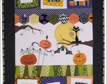 """WALL QUILT KIT - Wonky Halloween Wall Quilt Pattern #Q45 by Sandra Workman at Pine Mountain Designs, Finished size is 23:x 32""""."""