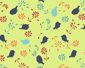 By The HALF Yard - Bridgette Lane by Valori Wells for Free Spirit, #PWVW061-BLUB Blueberry Lime Posies, Tossed Blue Birds & Flowers on Green