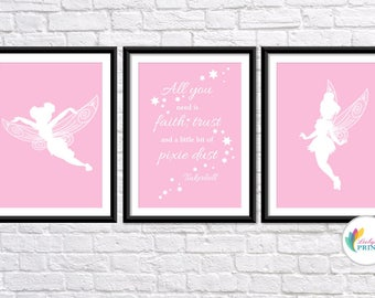 "Download - Tinkerbell Printable 8"" x 10"" - Set of 3 Baby Pink Tinkerbell Fairy  Prints - Set of 3"