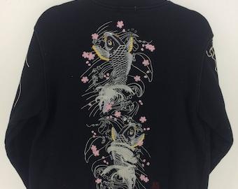 Vintage 90's Sukajan Kara Kuri Sport Classic Design Skate Sweat Shirt Sweater Varsity Jacket Size M #A864
