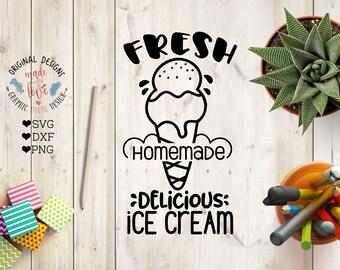Ice Cream SVG, Fresh Homemade Ice cream Cut File in SVG, DXF, png, Ice Cream cut File, Ice Cream Sold Here svg, Homemade Ice cream design