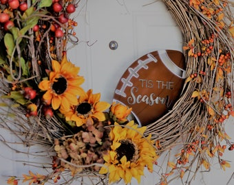 Tis The Season Football Wreath Ornament | Hand Painted | Kaktos Rose | *does not include wreath* |
