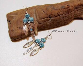 Pair of blue enamel earrings