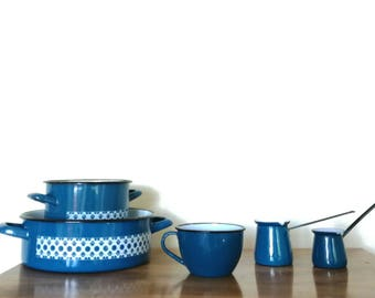 YUGOSLAVIAN BLUES / Set of five enamel dishes Made in Yugoslavia by Emo Celje