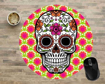 "Sugar Skull Mouse Pad, Sugar Skull 8"" Round Mouse Pad, Day of the Dead Mouse Pad, Sugar Skull Computer Mouse Pads, Cute Mouse Pads."