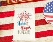 Miniature 4th of July Stars and Stripes Forever Tea Towel - 1:12 Dollhouse Miniature