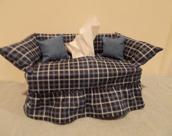 Homestead Check couch tissue box cover.