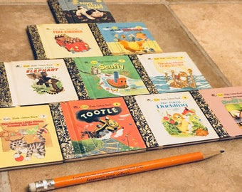 First 10 Little Little Golden Books. Minature books for kids. Poky Puppy, Saggy Baggy Elephant, Scuffy Tugboat, Tootle, Little Red Hen lot