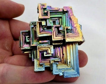 Rainbow Bismuth Crystal 160g Lab Grown Jewelry Display Specimen Educational Metaphysical Metal Healing Stone
