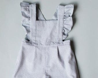 Toddler Romper - Romper with Ruffles - Vintage Girls Romper-12-18mo, 18-24mo, 2T, 3T, 4T, 5T