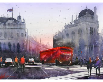 Fine Art Print Piccadilly London England Watercolour Painting Signed City Scene Urban Giclee High Quality Vibrant Impressionist Landscape UK