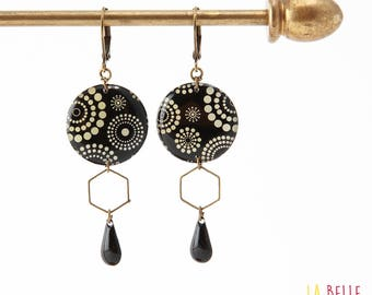 Resinees earrings round Hexagon circle and black polka dot pattern