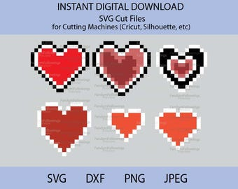 Pixel Hearts svg, Legend of Zelda svg, Heart svg, Pixel Heart svg, Heart Container svg, Zelda svg, Cricut Cut File, Cut File, Piece of Heart