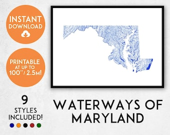 Maryland Map Etsy - Maryland printable map