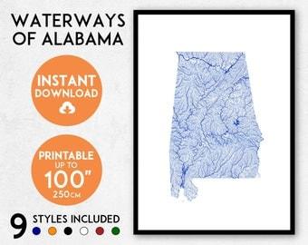 Alabama map print, Printable Alabama map art, Alabama print, USA map, Alabama art, Alabama poster, Alabama wall art print, Alabama gift