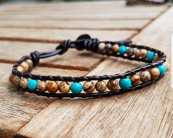 Leather Bracelet with Jasper stones