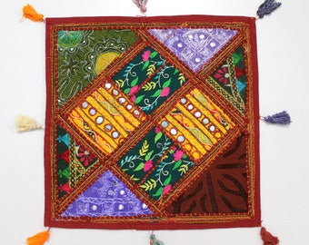 Handmade Hippie Gypsy Home Decor Ethnic Multi color Embroidered Hippy Patchwork Bohemian Pillow Shams Couch Cushion Cover Case G758