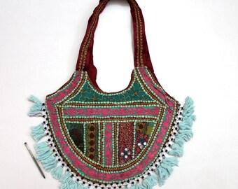Handmade Ethnic Designer Tribal Banjara Patchwork Embroidered Hippy Fashionable Stylish Trendy Hippie Gypsy Boho Bohemian Shopper Bag F180