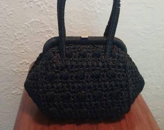 Adorable little vintage raffia handbag.  Made in italy
