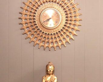 Vintage Midcentury Modern Starburst Clock by Elgin