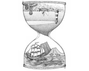 Time and Tales of the Sea - Art Print in various sizes (Tall ships, hourglass, lighthouse, mermaid, fisherman, sand)