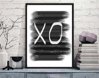 Printable art Digital Prints black and white modern wall art Home decor XO printable art, printable prints