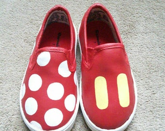 Minnie and Mickey Mouse Inspired Special Occasion Hand-Painted Shoes.