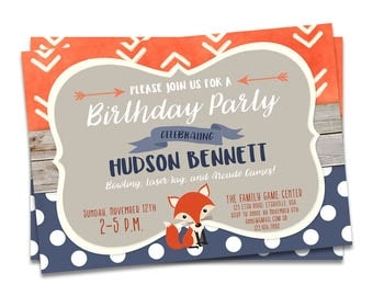 Fox Birthday Invitation, Woodland Birthday Invitation, Woodland Invitation, First Birthday Invitation, Woodland Invite, Fox Invitation, Fox