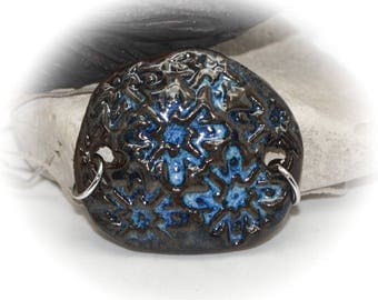 Rustic Blues - Handmade Stoneware Pendant #426