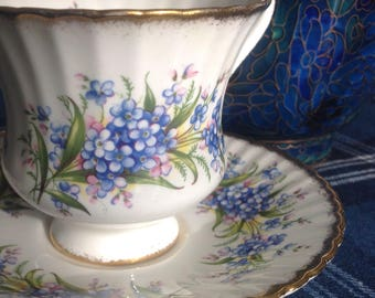 Paragon Forget-Me-Not Tea Cup and Saucer, Blue Flowers on White, Bone China, Made in England, 1960's