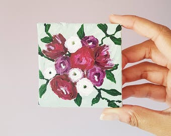 Miniature Painting, Floral Painting, Miniature Art, Flower Print, Posy Painting, Tiny Painting, Stocking Stuffer, Gifts for Her, Teen Gift