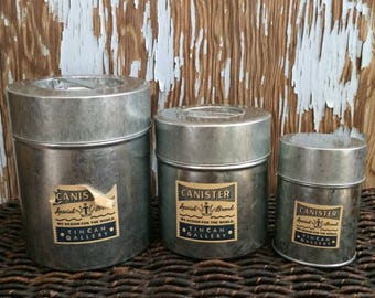Vintage Aluminum Canister 3 piece Made in Japan